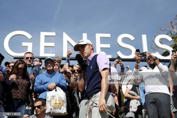 Justin Thomas of the United States reacts to a shot on the second hole during the first round of the Genesis Invitational on February 13 2020 in...