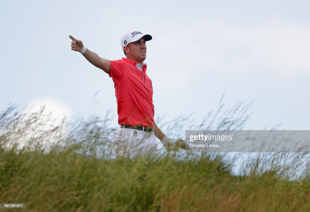 Justin Thomas of the United States reacts to his shot from the fifth tee during the final round of the 2017 U.S. Open at Erin Hills on June 18, 2017 in Hartford, Wisconsin.