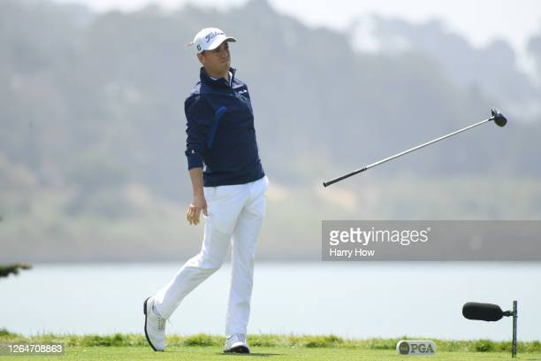 Justin Thomas of the United States reacts to his tee shot on the 16th hole during the third round of the 2020 PGA Championship at TPC Harding Park on...