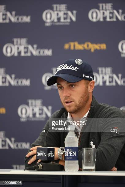 Justin Thomas of the United States speaks to the media at a press conference during previews to the 147th Open Championship at Carnoustie Golf Club...