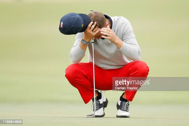 Justin Thomas of the United States team reacts during Saturday afternoon foursomes matches on day three of the 2019 Presidents Cup at Royal Melbourne...
