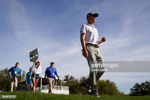Justin Thomas of the United States walks on the first hole during the first round of the World Golf ChampionshipsDell Match Play at Austin Country...