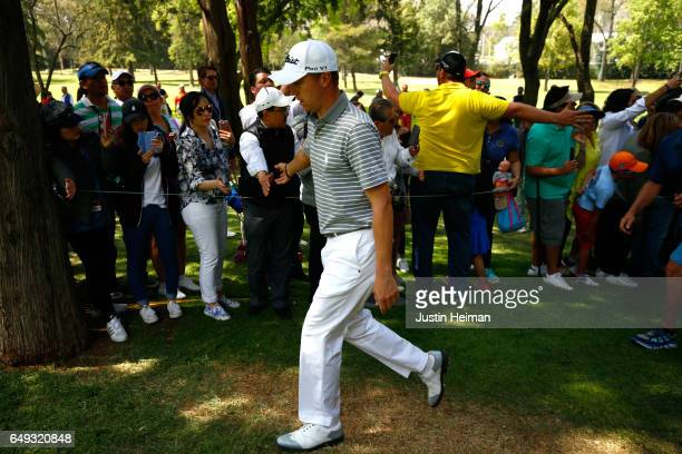 Justin Thomas of the United States walks to the fifth hole tee box during the final round of the World Golf Championships Mexico Championship at Club...