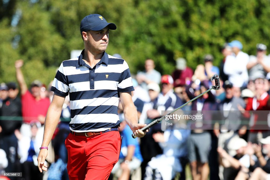 Justin Thomas of the U.S. Team reacts on the second green during Sunday singles matches of the Presidents Cup at Liberty National Golf Club on October 1, 2017 in Jersey City, New Jersey.