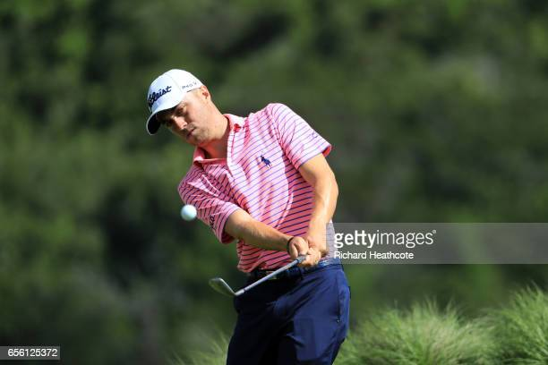 Justin Thomas of the USA in action during a practise round for the WGC Dell Match Play at Austin Country Club on March 21 2017 in Austin Texas