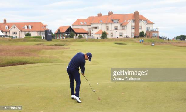 Justin Thomas of the USA in action during the Pro Am event prior to the abrdn Scottish Open at The Renaissance Club on July 07, 2021 in North...