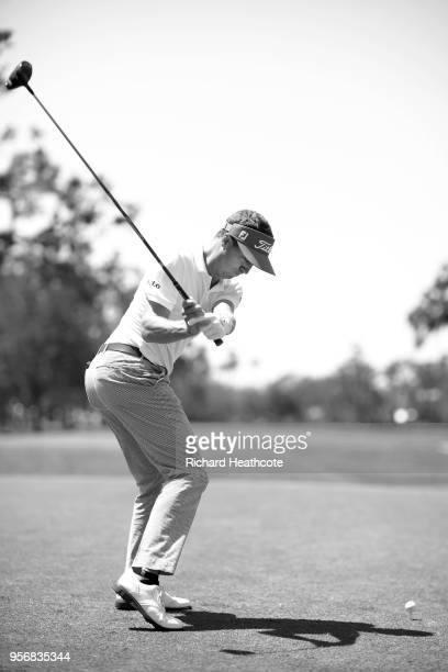 Justin Thomas of the USA plays a shot during practice round prior to THE PLAYERS Championship on the Stadium Course at TPC Sawgrass on May 8 2018 in...