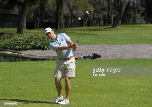 Justin Thomas plays a wedges shot on the fifth hole prior to the World Golf Championships-Mexico Championship at Club de Golf Chapultepec on February...