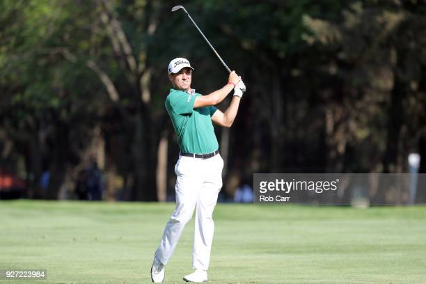 Justin Thomas plays his second shot from the 18th fairway to make eagle during the final round of World Golf ChampionshipsMexico Championship at Club...