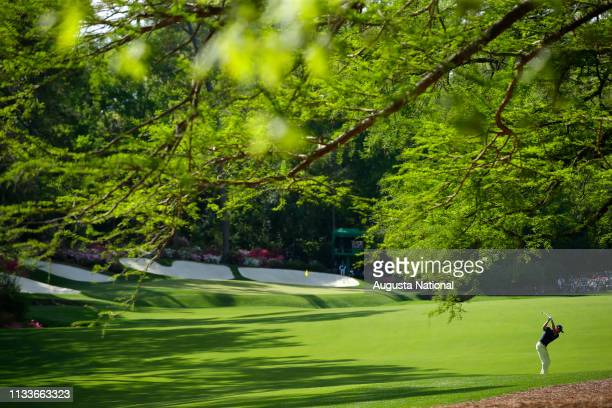Justin Thomas plays his second shot on Hole No 13 during the final round of the Masters at Augusta National Golf Club Sunday April 8 2018