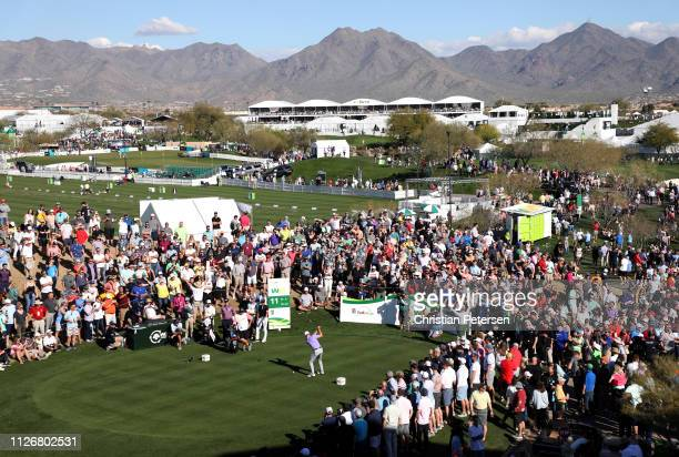 Justin Thomas plays his shot from the 11th tee during the second round of the Waste Management Phoenix Open at TPC Scottsdale on February 01 2019 in...