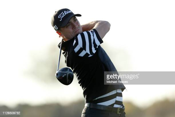 Justin Thomas plays his shot from the 13th tee during the first round of the Waste Management Phoenix Open at TPC Scottsdale on January 31 2019 in...