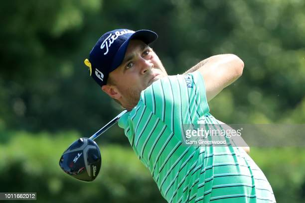 Justin Thomas plays his shot from the eighth tee during the World Golf ChampionshipsBridgestone Invitational Final Round at Firestone Country Club...