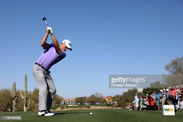 Justin Thomas plays his shot from the first tee during the second round of the Waste Management Phoenix Open at TPC Scottsdale on February 01 2019 in...
