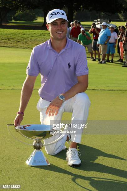Justin Thomas poses with the FedEx Cup Trophy after the final round of the PGA Tour Championship on September 24 2017 at East Lake Golf Club in...