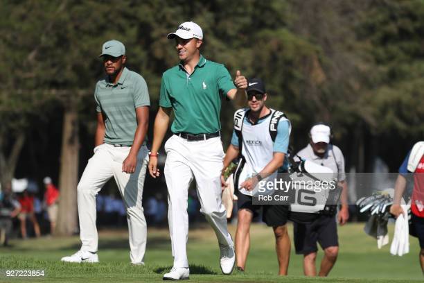 Justin Thomas reacts after making an eagle on the 18th hole during the final round of World Golf ChampionshipsMexico Championship at Club De Golf...