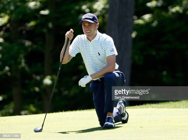 Justin Thomas reacts to a shot during the proam round of The Memorial Tournament Presented By Nationwide at Muirfield Village Golf Club on May 31...