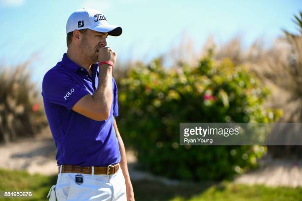 Justin Thomas reacts to missing a putt on the second green during the final round of the Hero World Challenge at Albany course on December 3 2017 in...