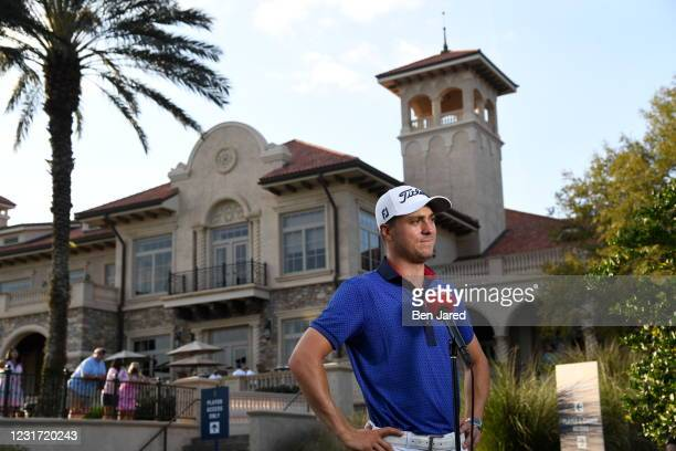 Justin Thomas speaks to Sky Sports after winning THE PLAYERS Championship on THE PLAYERS Stadium Course at TPC Sawgrass on March 14 in Ponte Vedra...