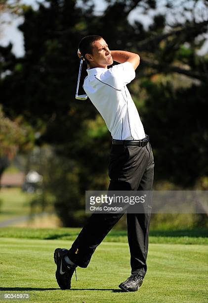 Justin Thomas tees off on during the first round of the Walmart First Tee Open at Pebble Beach held at Del Monte Golf Club on September 4 2009 in...