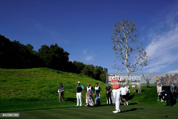 Justin Thomas tees off on the 4th Hole during Round One of the Genesis Open at the Riviera Country Club Golf Course on February 16 2017 in Pacific...
