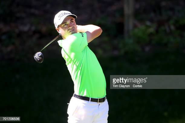 June 22: Justin Thomas tees off on the fifteenth during day one of the Travelers Championship Tournament at the TPC River Highlands Golf Course on...