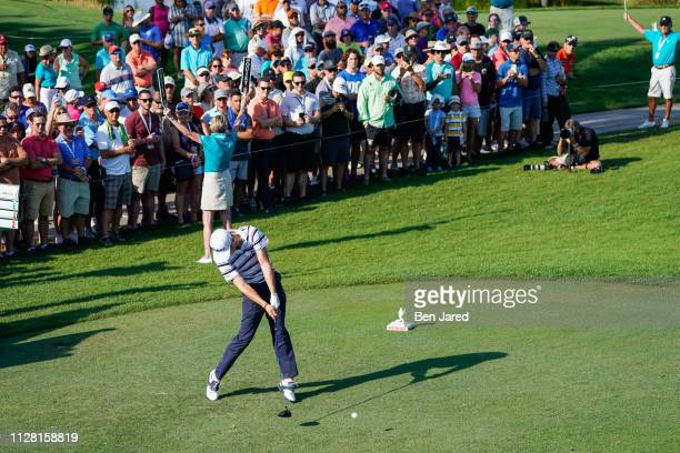 Justin Thomas tees off on the thirteenth hole tee box during the first round of The Honda Classic at PGA National Champion course on February 28 2019...