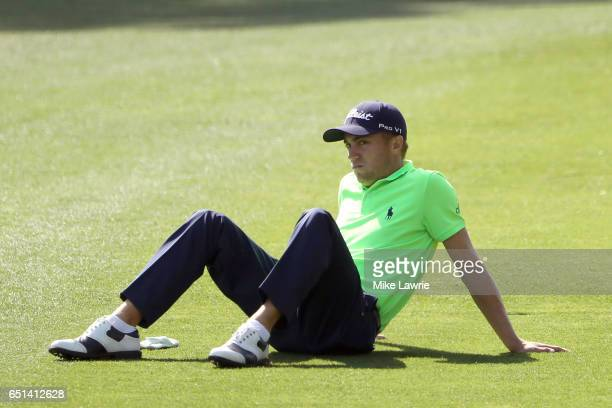 Justin Thomas waits to play a shot on the first fairway during the second round of the Valspar Championship at Innisbrook Resort Copperhead Course on...