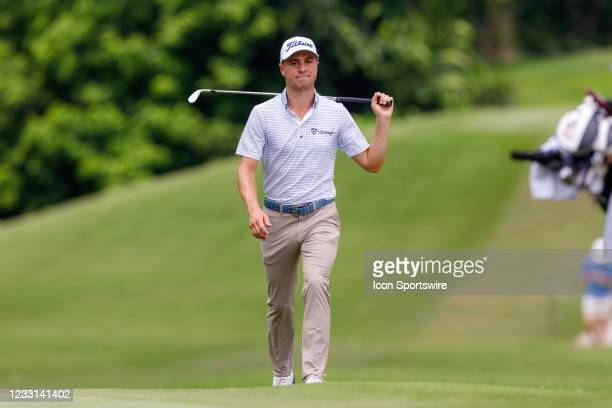 Justin Thomas walks up to the 8th green during the first round of the Charles Schwab Challenge on May 27, 2021 at Colonial Country Club in Fort...