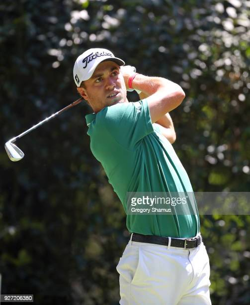 Justin Thomas watches his shot from the third tee during the final round of World Golf ChampionshipsMexico Championship at Club De Golf Chapultepec...