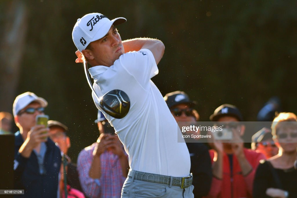 Justin Thomas watches his tee shot on the 17th hole during the second round of the Genesis Open golf tournament at the Riviera Country Club in Pacific Palisades, CA on February 16, 2018.