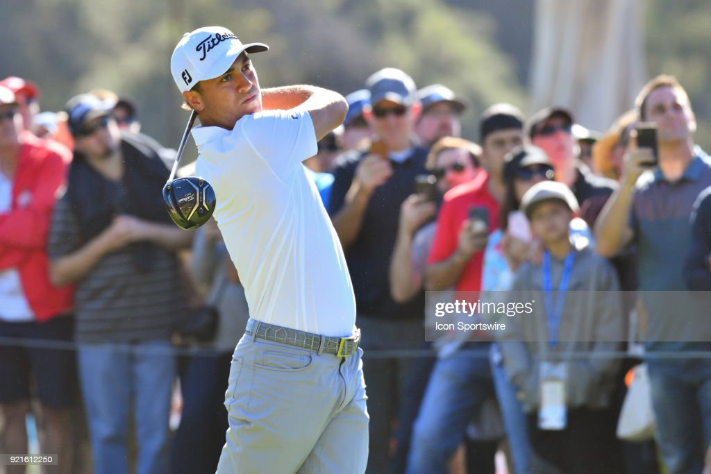 Justin Thomas watches his tee shot on the 9th hole during the second round of the Genesis Open golf tournament at the Riviera Country Club in Pacific Palisades, CA on February 16, 2018.