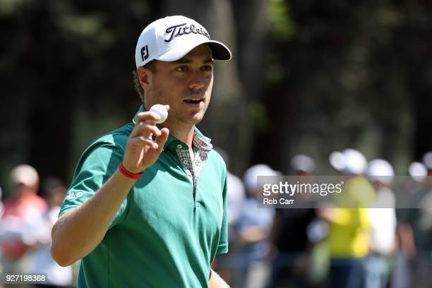 Justin Thomas waves to the fans after putting on the ninth green during the final round of World Golf Championships-Mexico Championship at Club De...