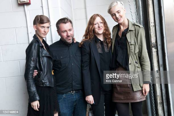Justin Thornton and Thea Bregazzi pose backstage with models during the Preen by Thornton Bregazzi Spring 2012 fashion show during Mercedes-Benz...