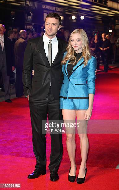 Justin Timberlake and Amanda Seyfried arrive at the UK premiere of 'In Time' at The Curzon Mayfair on October 31 2011 in London England