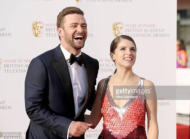 Justin Timberlake and Anna Kendrick arrive for the House Of Fraser British Academy Television Awards 2016 at the Royal Festival Hall on May 8 2016 in...