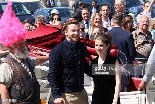 Justin Timberlake and Anna Kendrick attend the photocall for the film 'Trolls' at the Brandenburg Gate on May 10 2016 in Berlin Germany