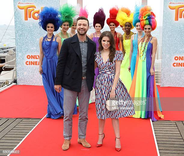 Justin Timberlake and Anna Kendrick attend the 'Trolls' Photocall at The Carlton Pier part of the The 69th Annual Cannes Film Festival on May 11 2016...