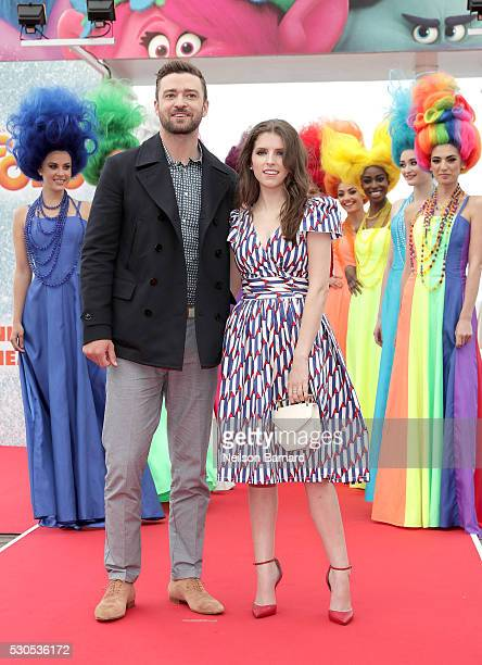 "Justin Timberlake and Anna Kendrick attend the ""Trolls"" Photocall during The 69th Annual Cannes Film Festival on May 11, 2016 in Cannes, France."