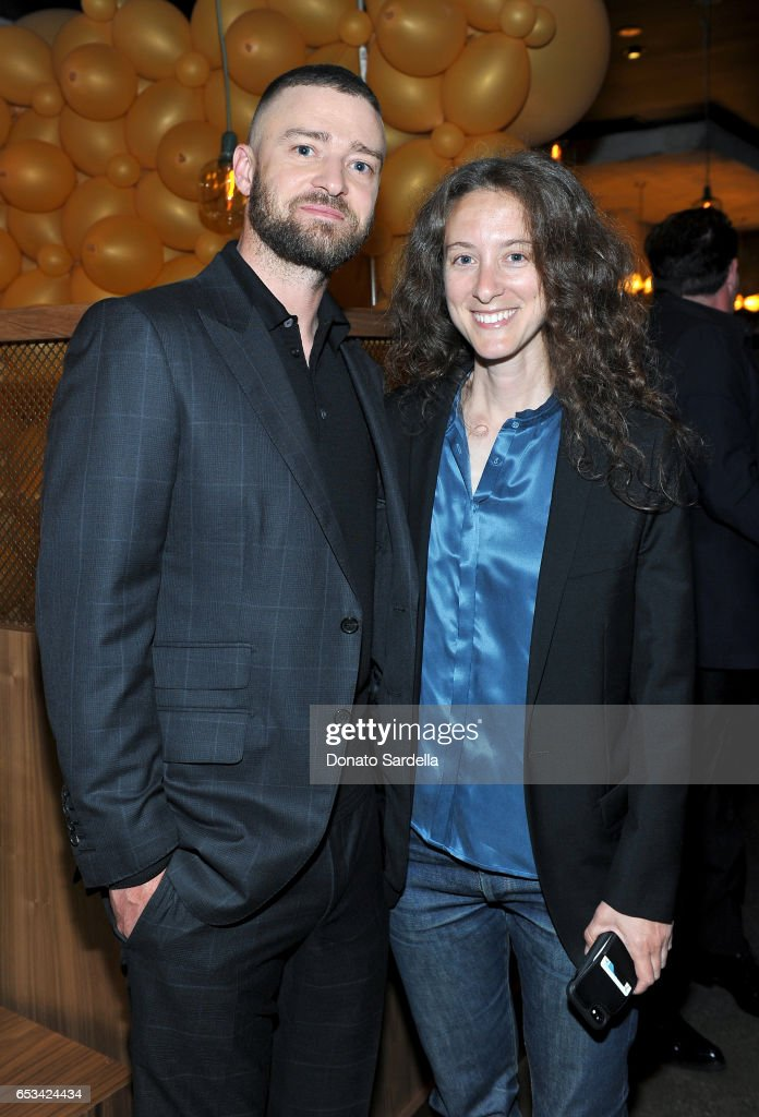 Justin Timberlake (L) and Annie Psaltiras at the Power Stylists Dinner, hosted by The Hollywood Reporter and Jimmy Choo, on March 14, 2017 in West Hollywood, California.