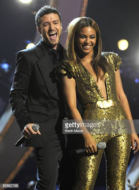 Justin Timberlake and Beyonce perform on stage during the Conde Nast Media Group's Fifth Annual Fashion Rocks at Radio City Music Hall on September 5...