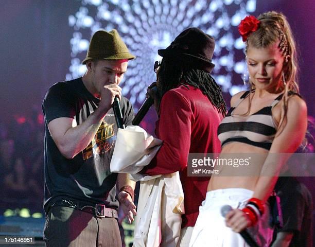 Justin Timberlake and Black Eyed Peas during MTV Europe Music Awards 2003 Show at Ocean Terminal Arena in Edinburgh Scotland