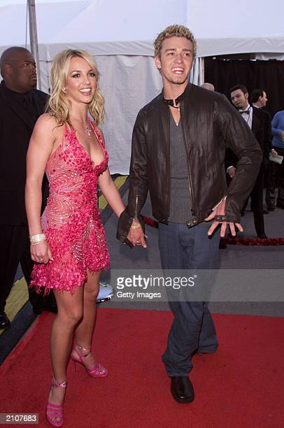 Justin Timberlake and Britney Spears arrive at the 29th Annual American Music Awards at the Shrine Auditorium in Los Angeles California January 9 2002