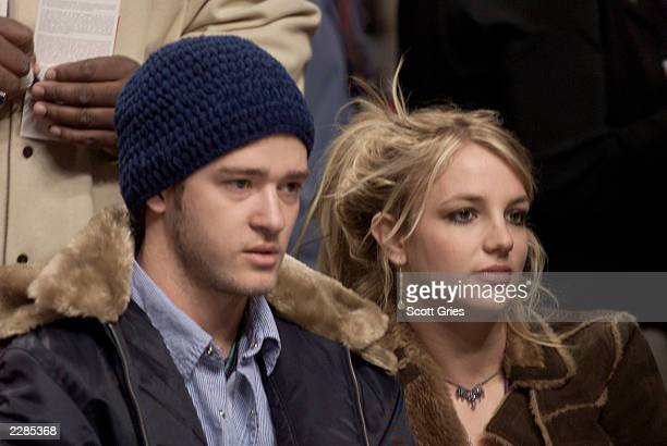 Justin Timberlake and Britney Spears at the 'NBA AllStar Game' at the First Union Center in Philadelphia Pa 2/10/02 Photo by Scott...