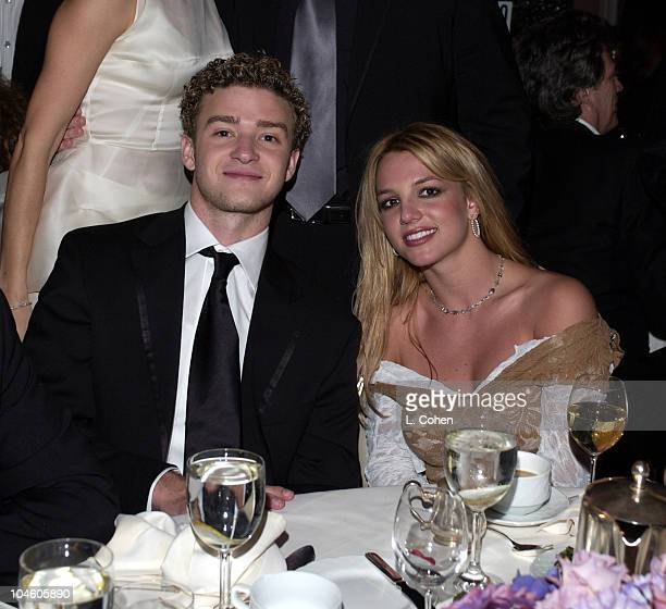 Justin Timberlake and Britney Spears during The 44th Annual GRAMMY Awards Clive Davis PreGRAMMY Party at Beverly Hills Hotel in Beverly Hills...