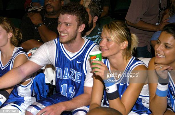 Justin Timberlake and Cameron Diaz during *NSYNC's Challenge for the Children VI Day 3 Basketball Game at Office Depot Center in Sunrise Florida...