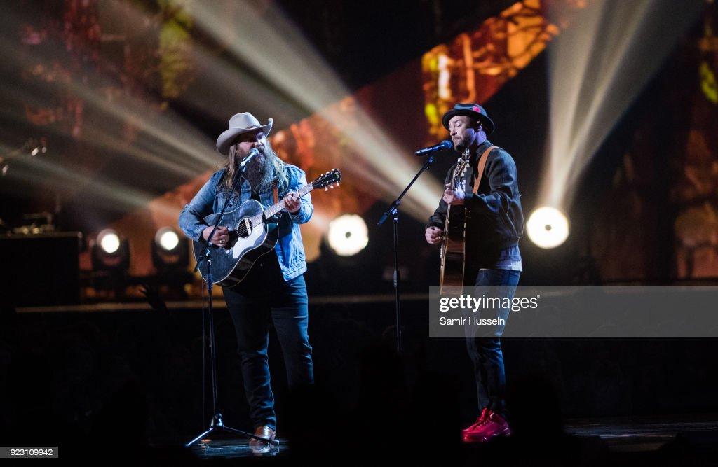 f9ecb27ef446 Justin Timberlake and Chris Stapleton perform at The BRIT Awards ...