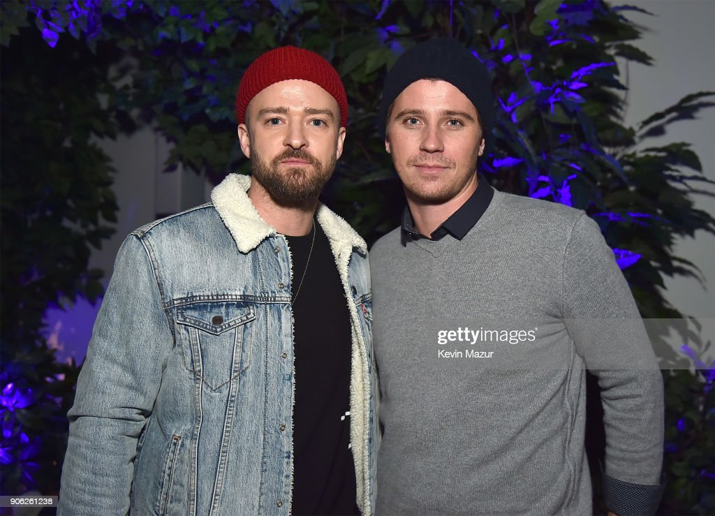 Justin Timberlake and Garrett Hedlund attend American Express x Justin Timberlake 'Man Of The Woods' listening session at Skylight Clarkson Sq on January 17, 2018 in New York City.