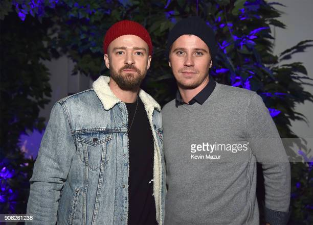 Justin Timberlake and Garrett Hedlund attend American Express x Justin Timberlake 'Man Of The Woods' listening session at Skylight Clarkson Sq on...