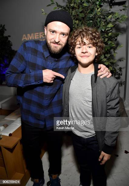 Justin Timberlake and Gaten Matarazzo attend American Express x Justin Timberlake 'Man Of The Woods' listening session at Skylight Clarkson Sq on...